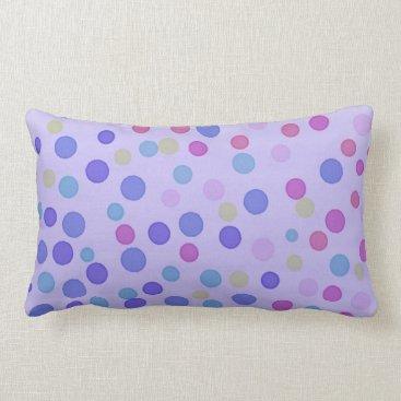 Beach Themed Multicolor pastel dots on purple lumbar pillow