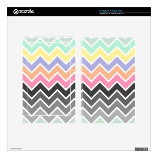 Multicolor Pastel Ombre Chevron Pattern Decals For Kindle Fire