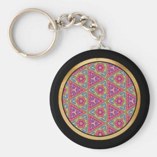Multicolor pattern basic round button keychain