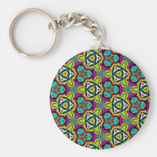 Multicolor pattern Gifts Basic Round Button Keychain