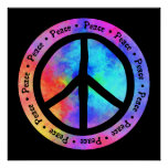 Multicolor Peace Sign Poster Poster
