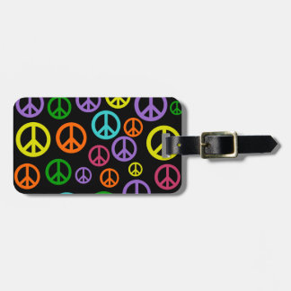 Multicolor Peace Signs Luggage Tag