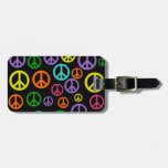 Multicolor Peace Signs Travel Bag Tag