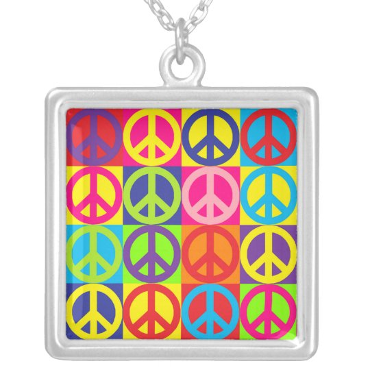 Multicolor Peace Silver Plated Necklace