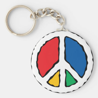 Multicolor Peace Symbol Keychain