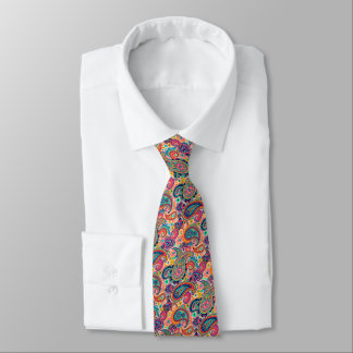 Multicolor Pink Orange Blue Paisley Pattern Tie