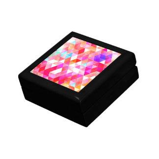 Multicolor Pink Watercolor Triangle Pattern Jewelry Box