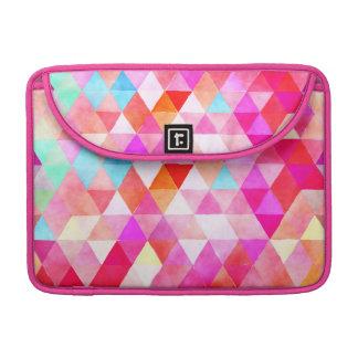 Multicolor Pink Watercolor Triangle Pattern MacBook Pro Sleeve