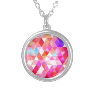 Multicolor Pink Watercolor Triangle Pattern Silver Plated Necklace