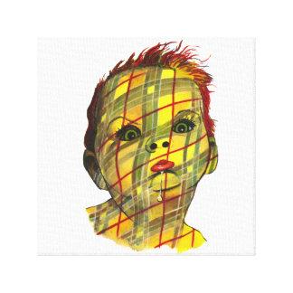 Multicolor Plaid Baby Face Canvas Print