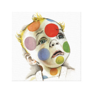 Multicolor Polka Dot Baby Face by Lenn Redman Canvas Print