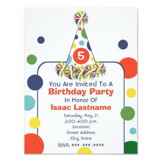 Multicolor Polka Dot Birthday Party Hat Invite