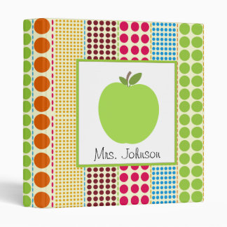 Multicolor Polka Dots Green Apple Teacher Binder