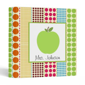 Multicolor Polka Dots Green Apple Teacher Vinyl Binders