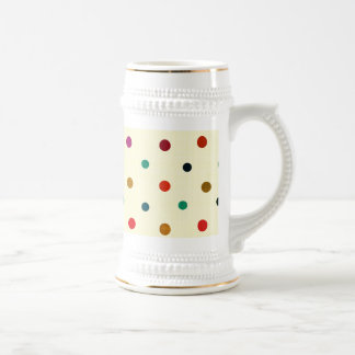 Multicolor Polka Dots. Red, Blue, Brown, Green 18 Oz Beer Stein