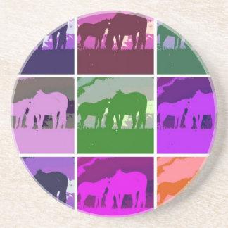 Multicolor Pop Art Horses Coaster