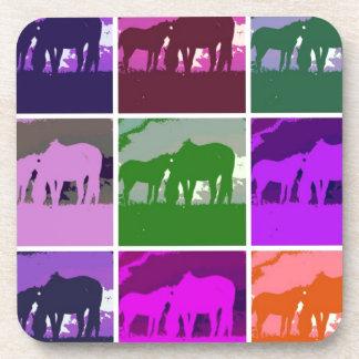 Multicolor Pop Art Horses Drink Coaster
