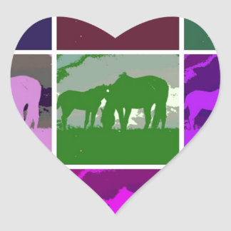 Multicolor Pop Art Horses Heart Sticker