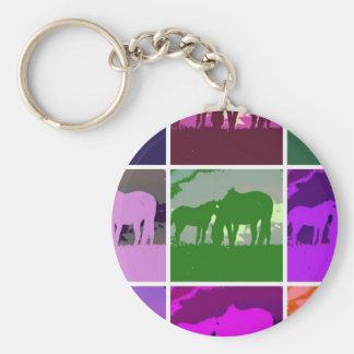 Multicolor Pop Art Horses Keychain