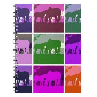 Multicolor Pop Art Horses Spiral Notebook