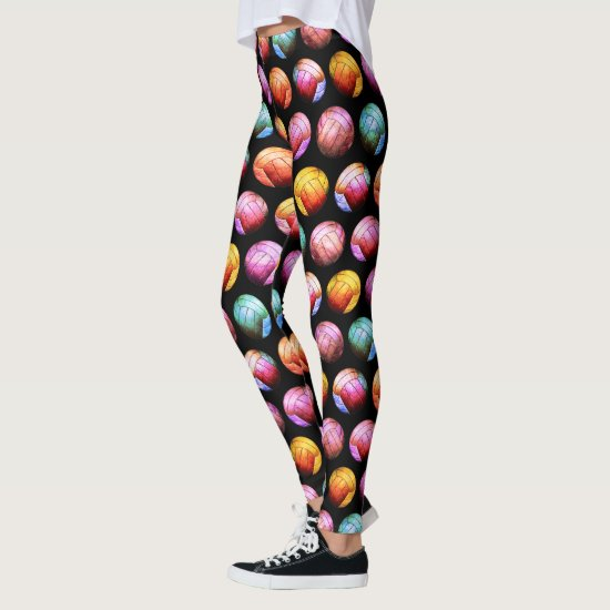 multicolor pop art women's volleyball leggings