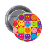 Multicolor Pop Smileys 2 Inch Round Button
