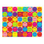 Multicolor Pop Smileys Postcard
