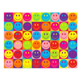 Multicolor Pop Smileys Post Cards