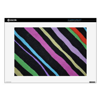Multicolor Primary Stripes with Black Pizazz! Laptop Skins
