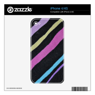 Multicolor Primary Stripes with Black Pizazz! Decals For The iPhone 4