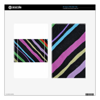 Multicolor Primary Stripes with Black Pizazz! Skins For Kindle Fire