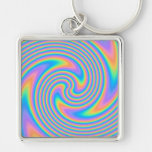 Multicolor Psychedelic Twist Swirl Pattern. Key Chains