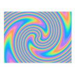 Multicolor Psychedelic Twist Swirl Pattern. Postcard