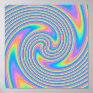 Multicolor Psychedelic Twist Swirl Pattern. Poster