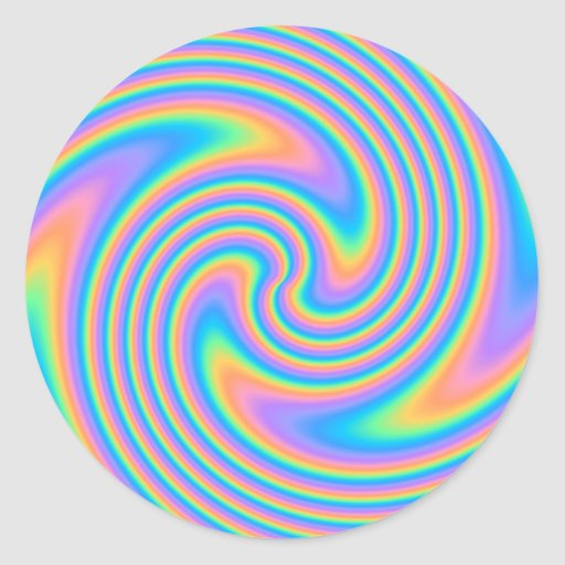 Multicolor Psychedelic Twist Swirl Pattern. Stickers