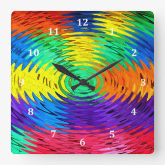 Multicolor Rainbow Water Ripples Square Wall Clock