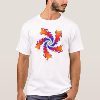 Multicolor red and blue fractal spiral T-Shirt