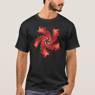 Multicolor red fractal spiral T-Shirt