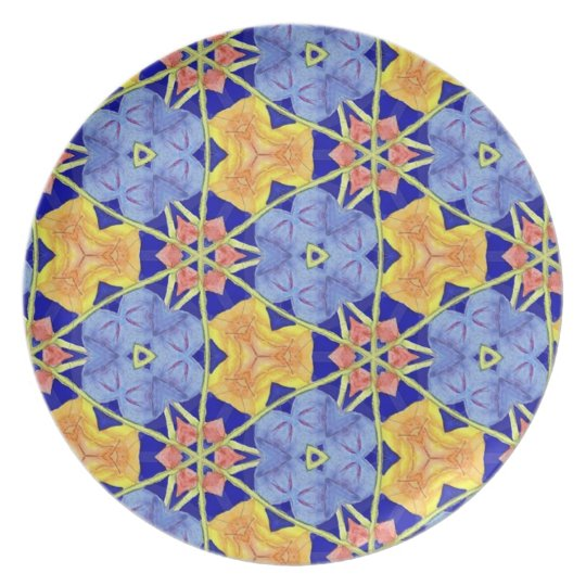 Multicolor Repeat Pattern Products Melamine Plate