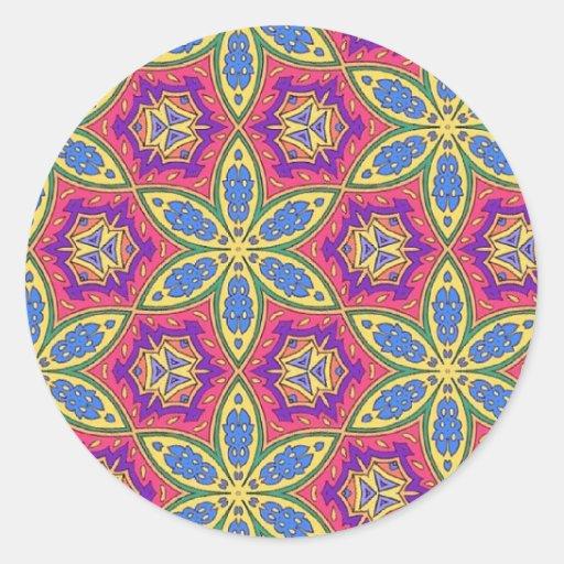 Multicolor repeat pattern round sticker