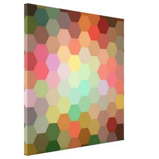 Multicolor Retro Hexagonal Seamless Pattern Canvas Print