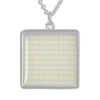 Multicolor Retro Print Silver Square Necklace