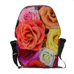 Multicolor Roses Pattern Design-Warm Tones Courier Bag