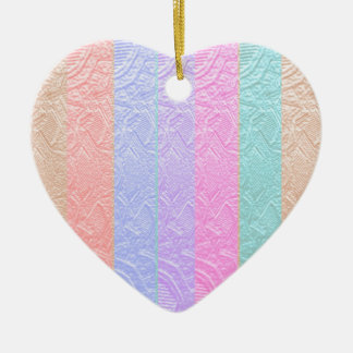 MultiColor Silken Engraved Look Patterns Double-Sided Heart Ceramic Christmas Ornament