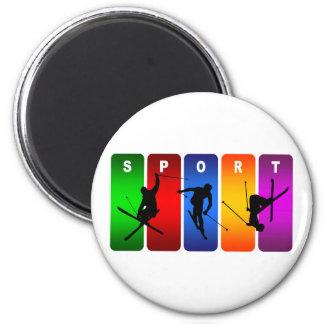 Multicolor Ski Emblem Magnet