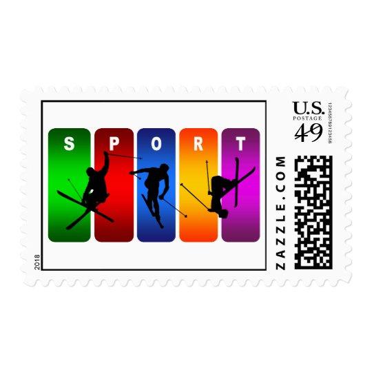 Multicolor Ski Emblem Postage
