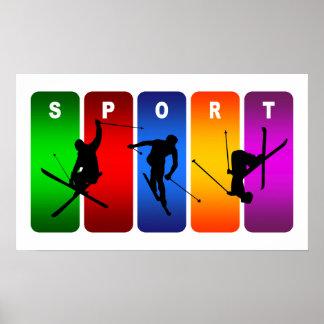 Multicolor Ski Emblem Poster