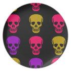Multicolor Skulls Melamine Plate