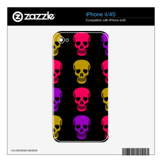 Multicolor Skulls Skins For iPhone 4
