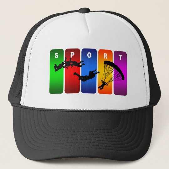 Multicolor Skydiving Emblem Trucker Hat